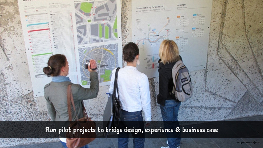 Run pilot projects to bridge design, experience...