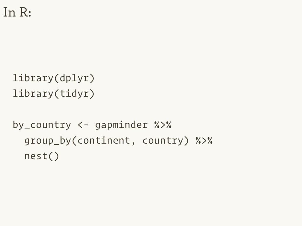 library(dplyr) library(tidyr) by_country <- gap...