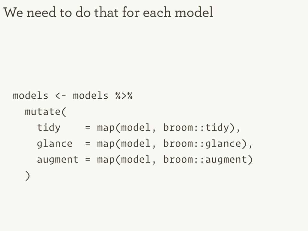models <- models %>% mutate( tidy = map(model, ...