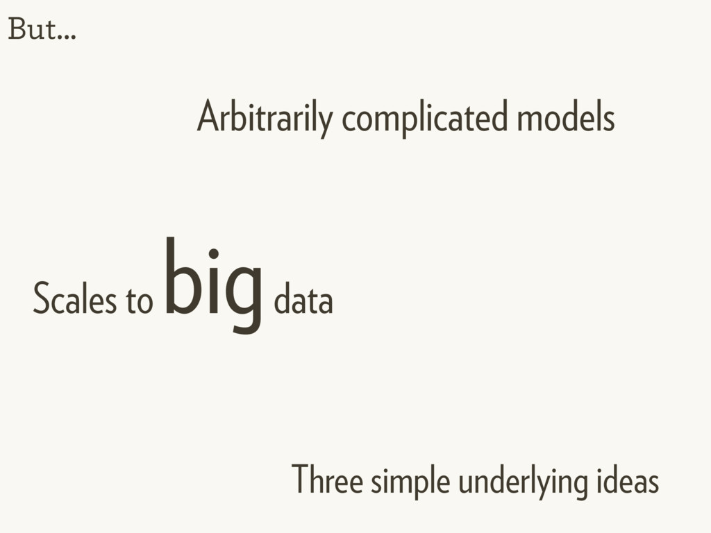 But... Arbitrarily complicated models Three sim...