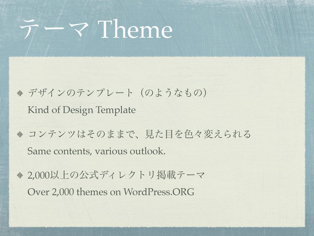 ςʔϚ Theme σβΠϯͷςϯϓϨʔτʢͷΑ͏ͳͷʣ Kind of Design Te...