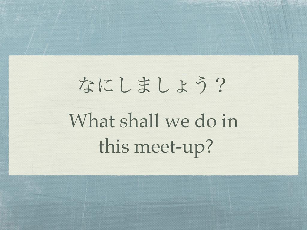 ͳʹ͠·͠ΐ͏ʁ What shall we do in this meet-up?