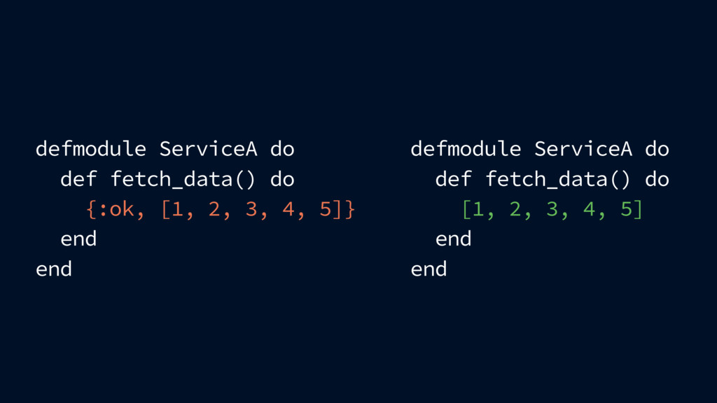 defmodule ServiceA do def fetch_data() do {:ok,...