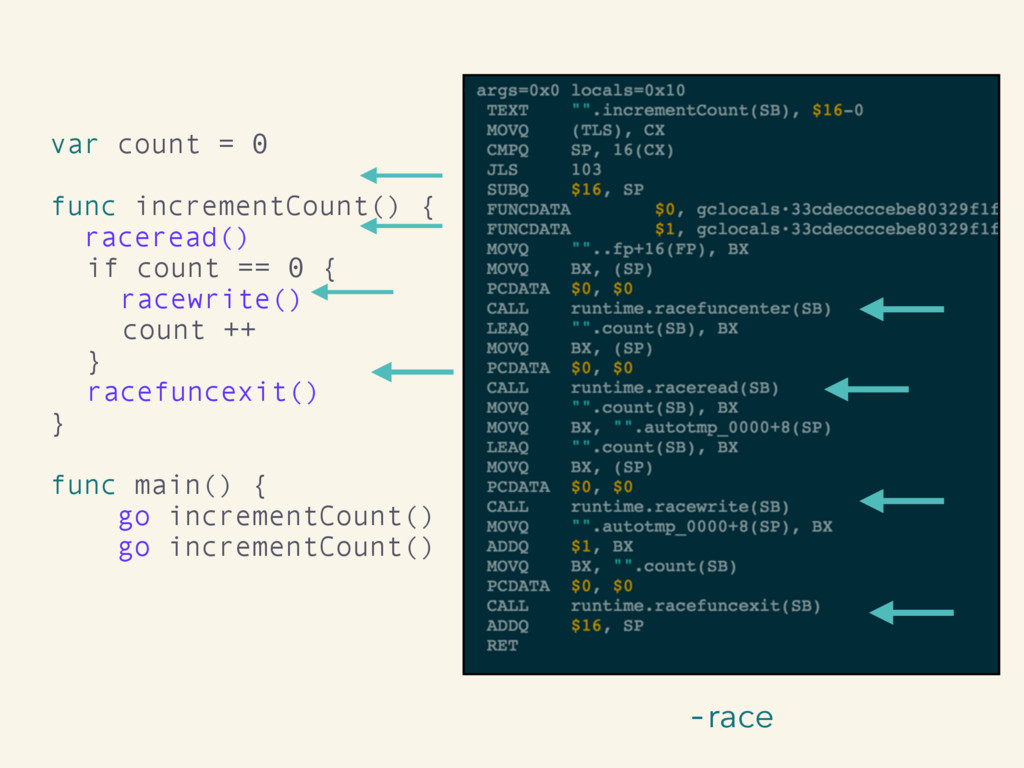 -race var count = 0 func incrementCount() { rac...