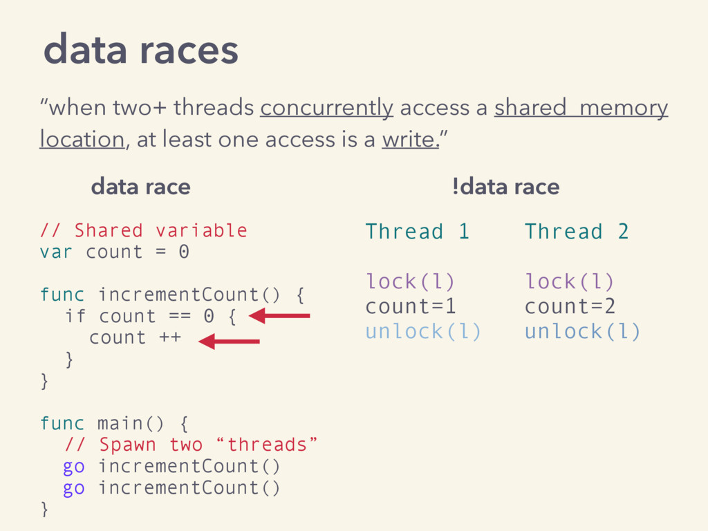 "data races ""when two+ threads concurrently acce..."