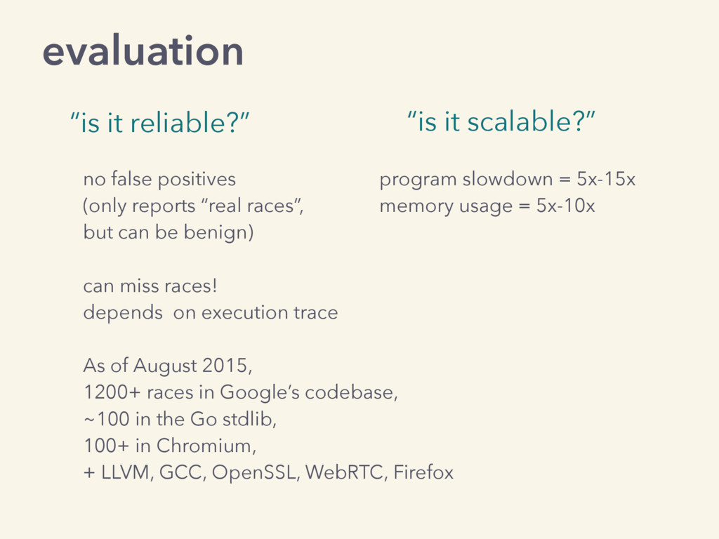 "evaluation ""is it reliable?"" ""is it scalable?"" ..."