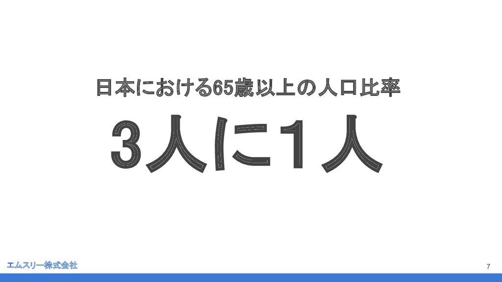 エムスリー株式会社 7 日本における65歳以上の人口比率 3人に1人