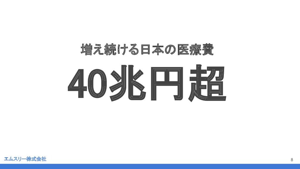 エムスリー株式会社 8 増え続ける日本の医療費 40兆円超