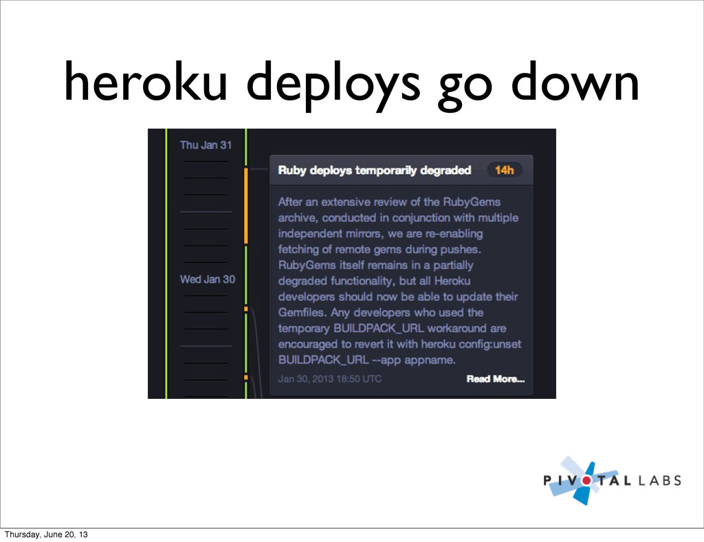 heroku deploys go down Thursday, June 20, 13