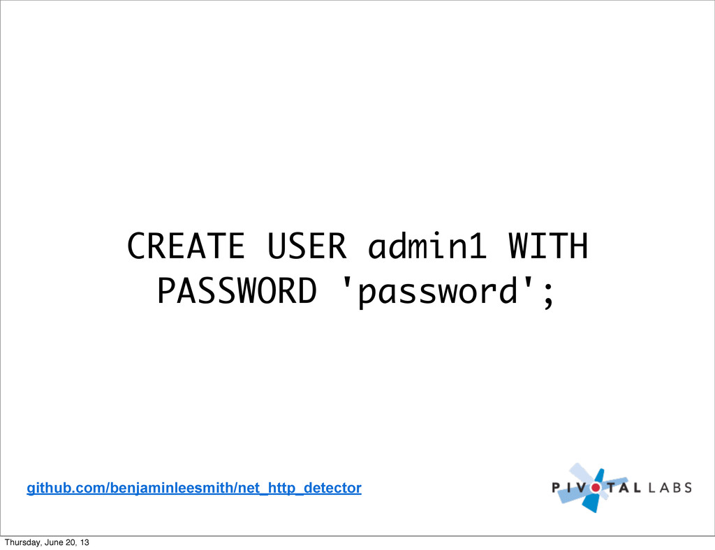 CREATE USER admin1 WITH PASSWORD 'password'; gi...