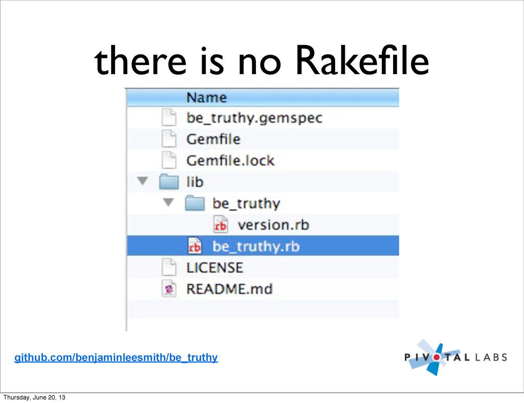 there is no Rakefile github.com/benjaminleesmith...