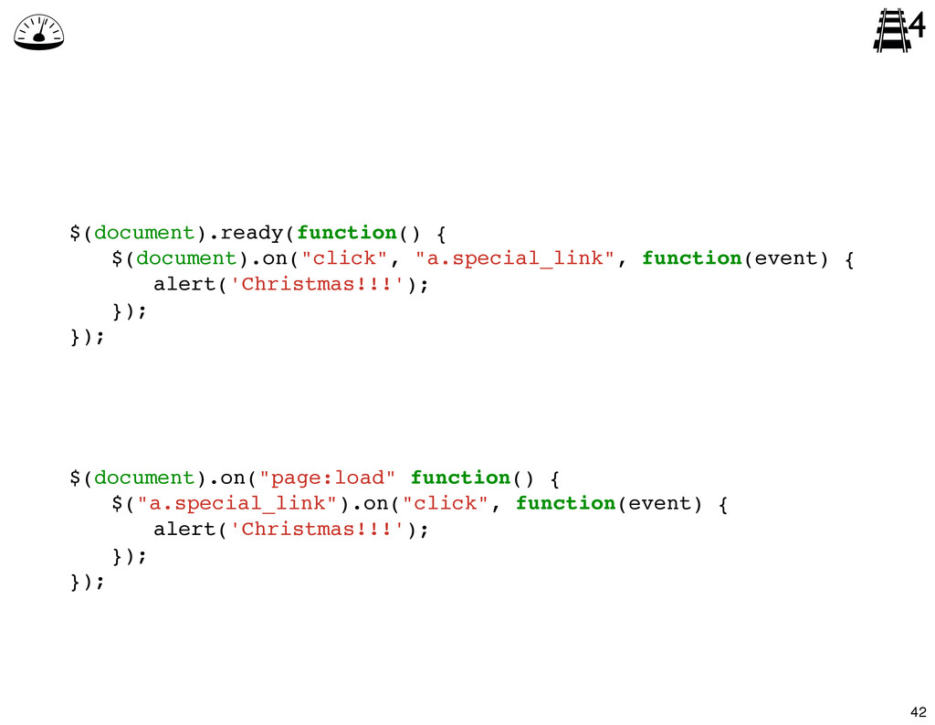 $(document).ready(function() { ! $(document).on...