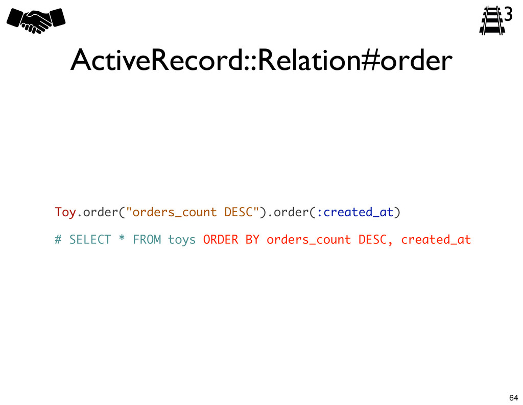 """ActiveRecord::Relation#order Toy.order(""""orders_..."""