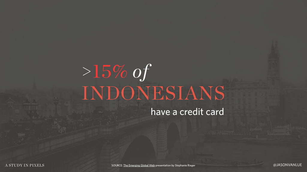 >15% of INDONESIANS @JASONVANLUE A STUDY IN PIX...