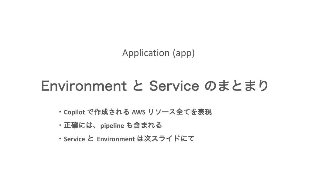 Application (app) &OWJSPONFOUͱ 4FSWJDFͷ·ͱ·Γ ・...