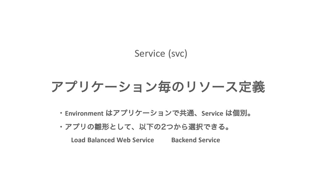 Service (svc) ΞϓϦέʔγϣϯຖͷϦιʔεఆٛ ɾEnvironment Ξϓ...