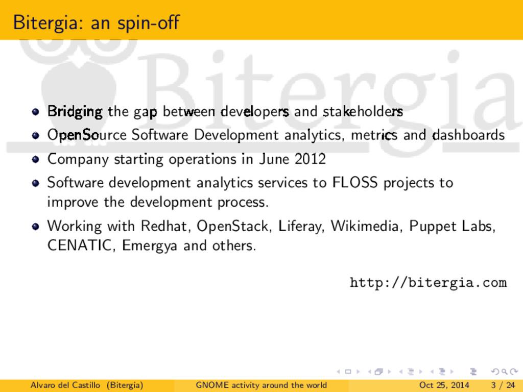 Bitergia: an spin-off Bridging the gap between d...