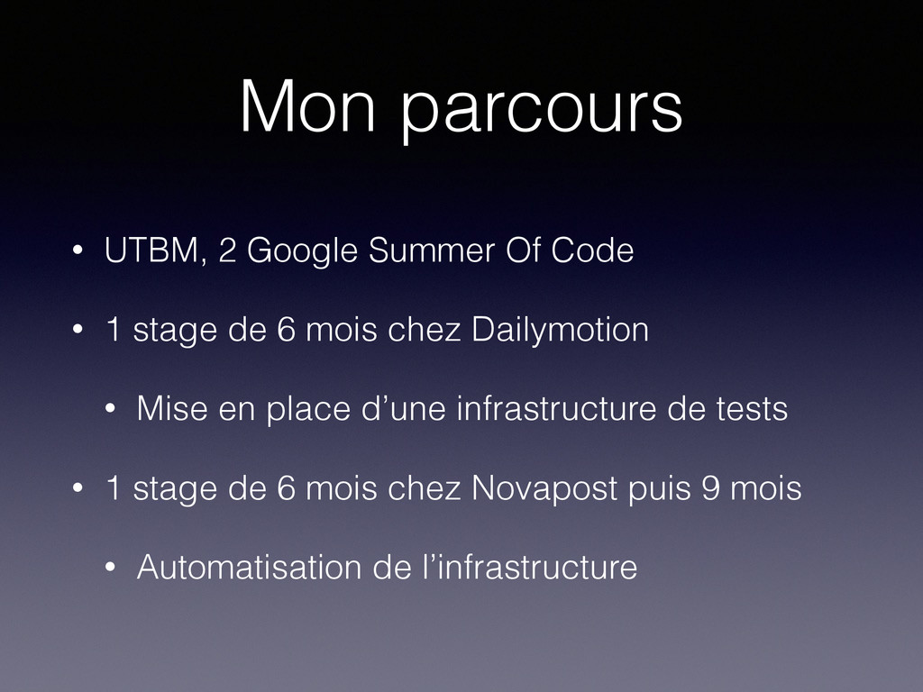 Mon parcours • UTBM, 2 Google Summer Of Code • ...
