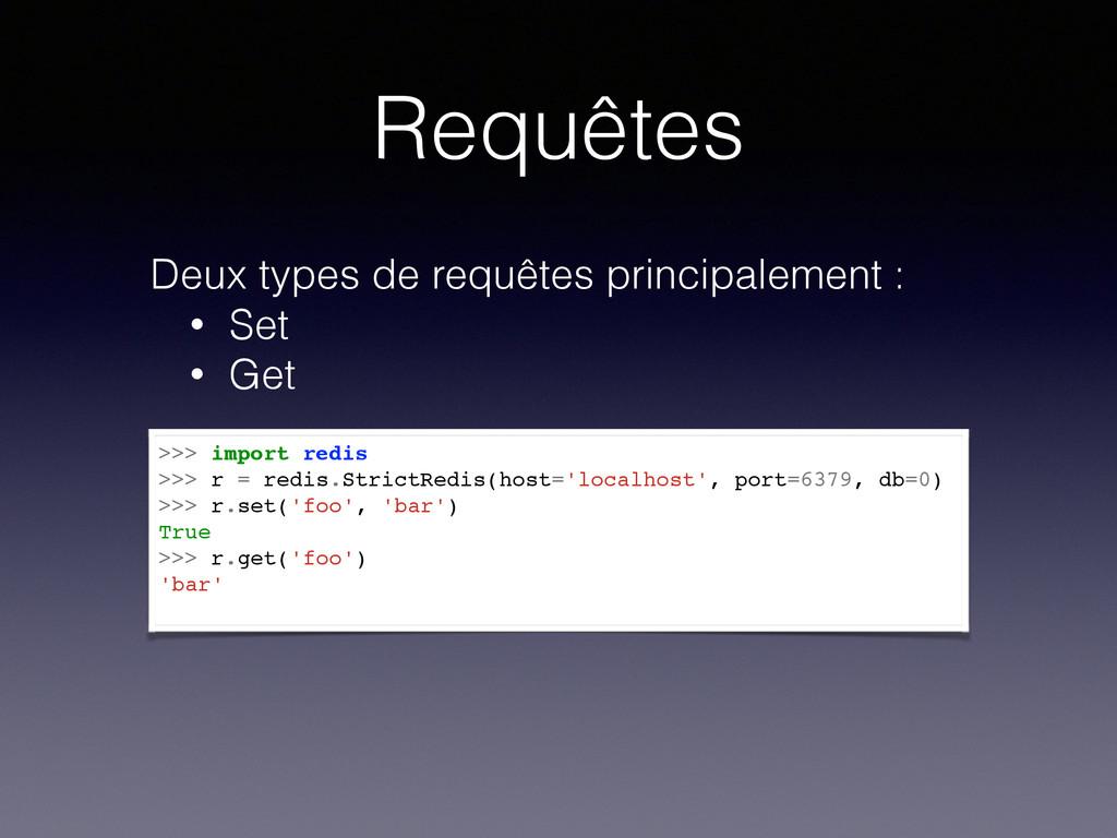 Requêtes >>> import redis >>> r = redis.StrictR...