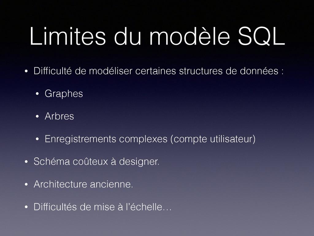 Limites du modèle SQL • Difficulté de modéliser ...