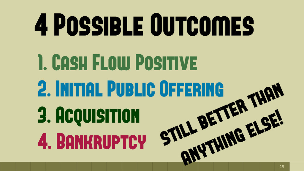 19 4 Possible Outcomes 1. Cash Flow Positive 2....