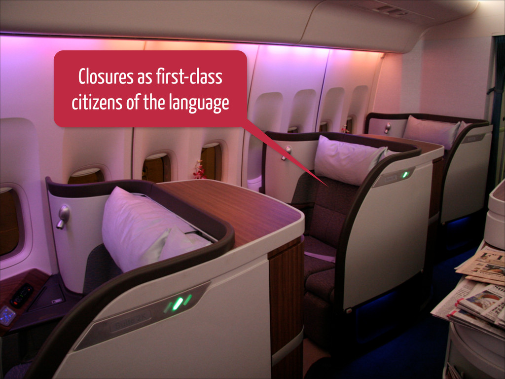 Closures as first-class citizens of the language