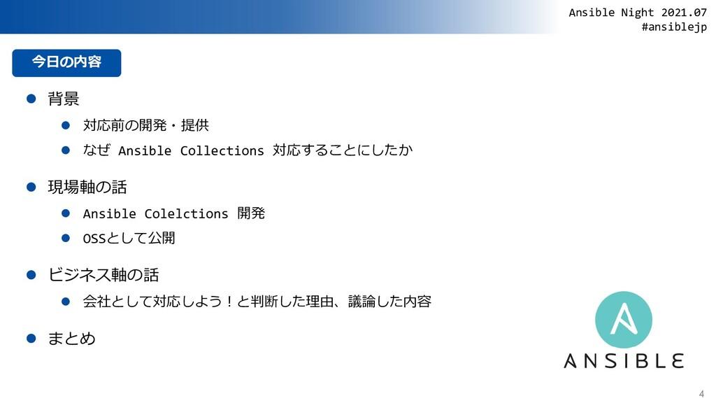今日の内容  背景  対応前の開発・提供  なぜ Ansible Collections...
