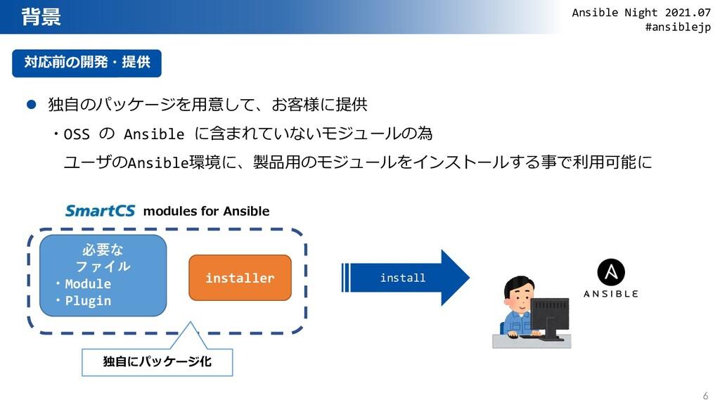 背景 今日の内容 対応前の開発・提供  独自のパッケージを用意して、お客様に提供 ・OSS ...