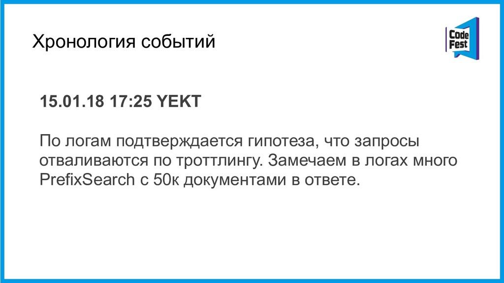 Хронология событий 15.01.18 17:25 YEKT  По лог...