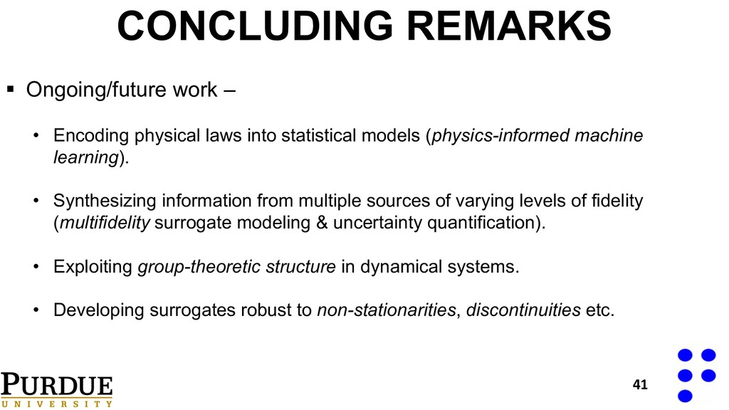 CONCLUDING REMARKS § Ongoing/future work – • En...