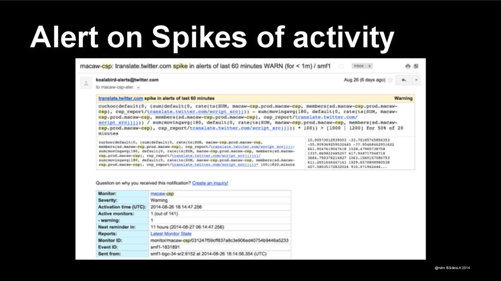 @ndm BSidesLA 2014 Alert on Spikes of activity