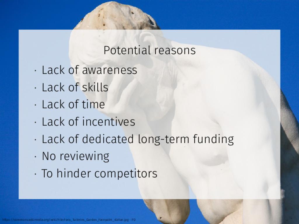 Potential reasons • Lack of awareness • Lack of...
