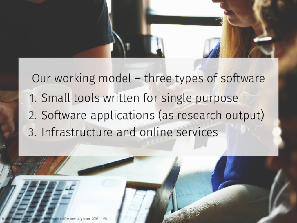 Our working model – three types of software 1. ...