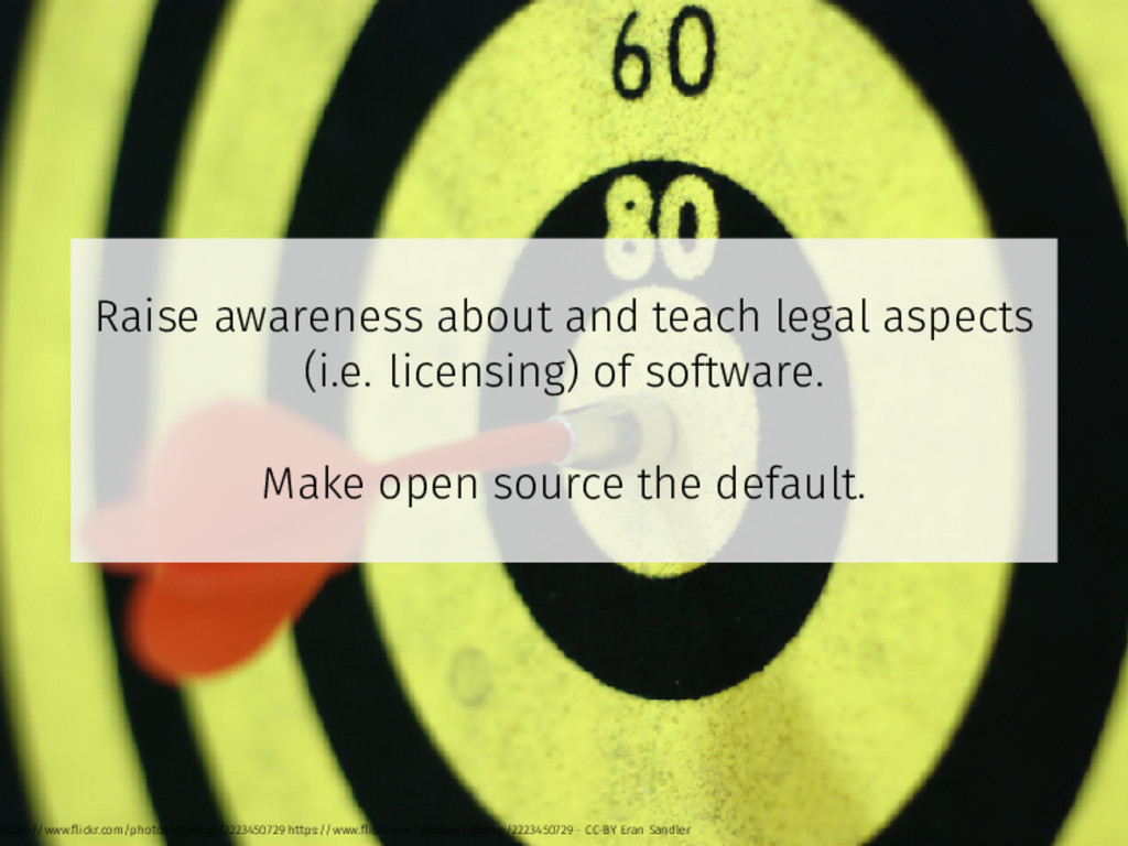 Raise awareness about and teach legal aspects (...