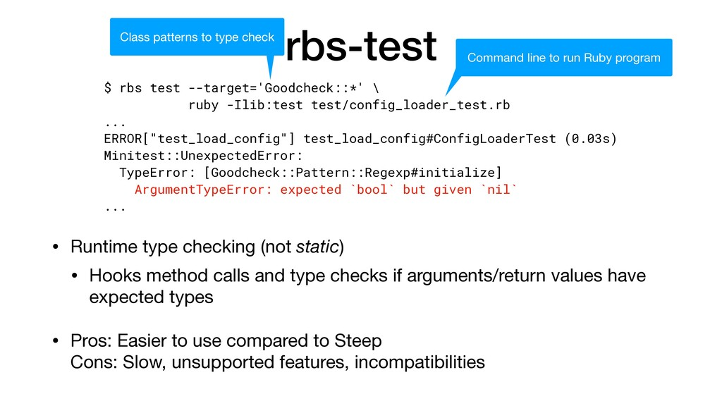rbs-test • Runtime type checking (not static)  ...