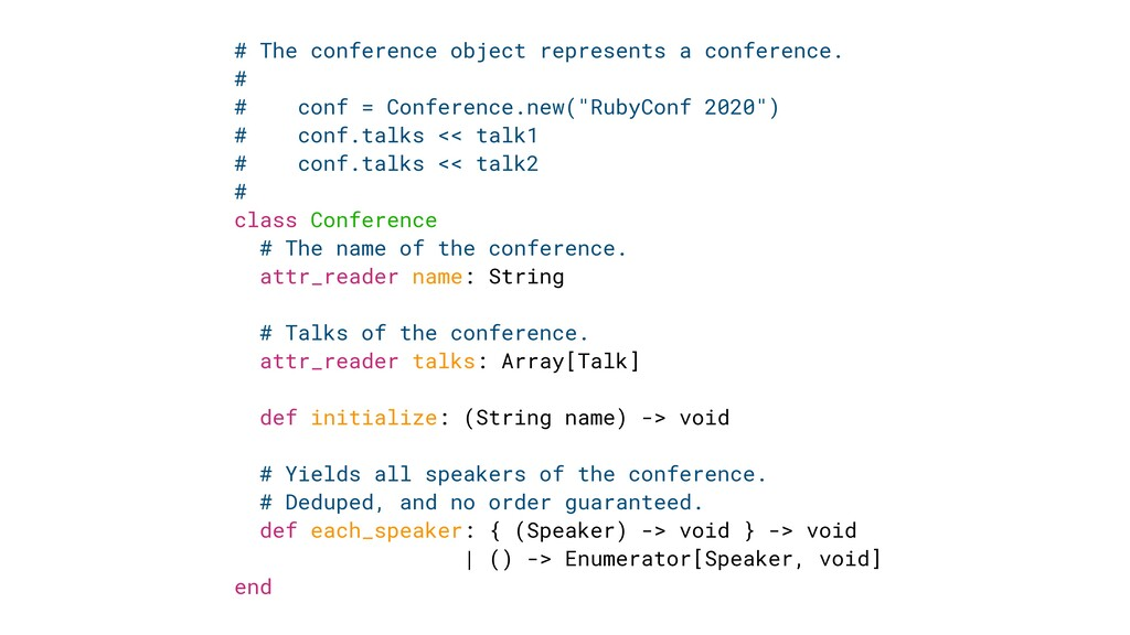 # The conference object represents a conference...