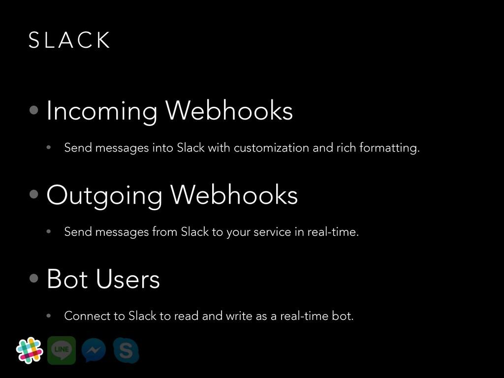 S L A C K • Incoming Webhooks • Send messages i...