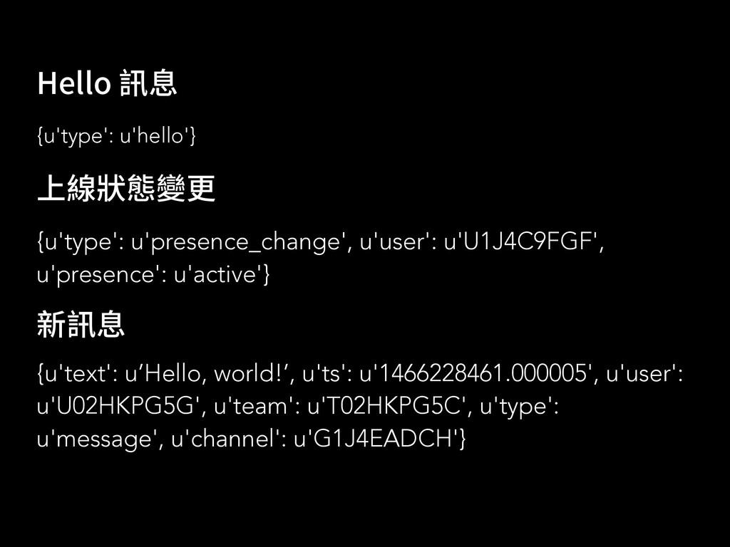 {u'text': u'Hello, world!', u'ts': u'1466228461...