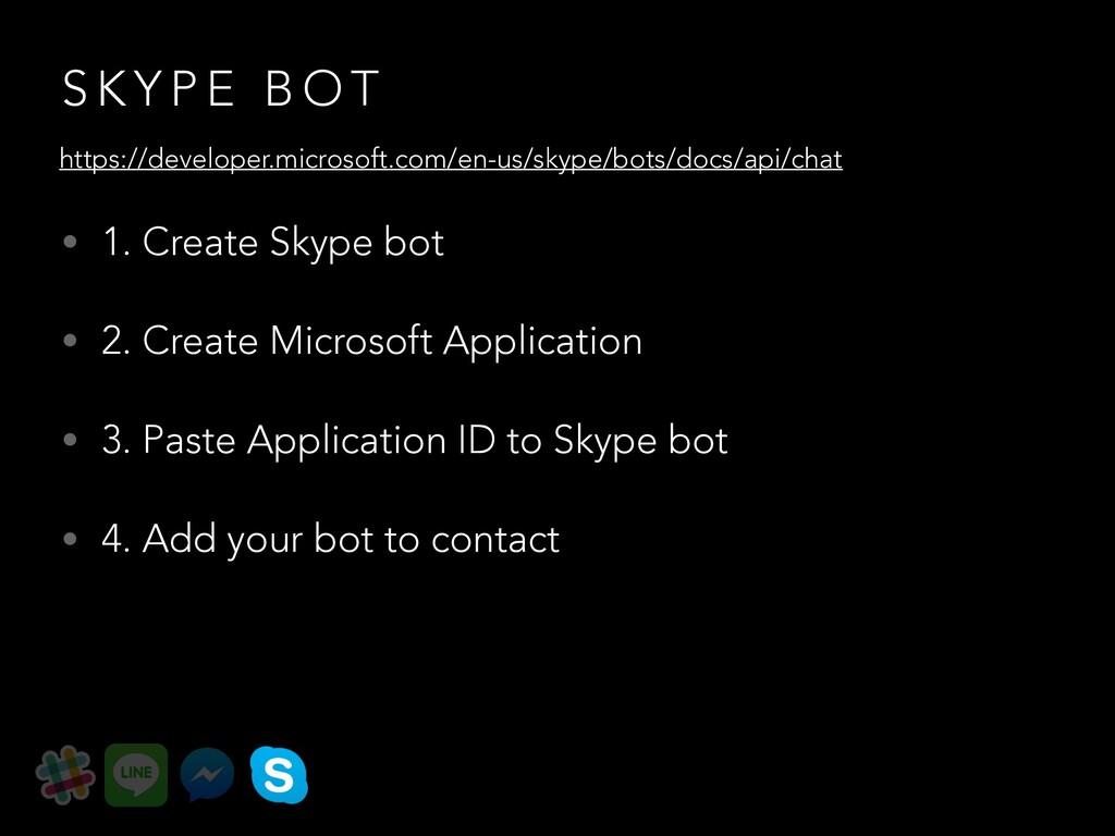S K Y P E B O T • 1. Create Skype bot • 2. Crea...