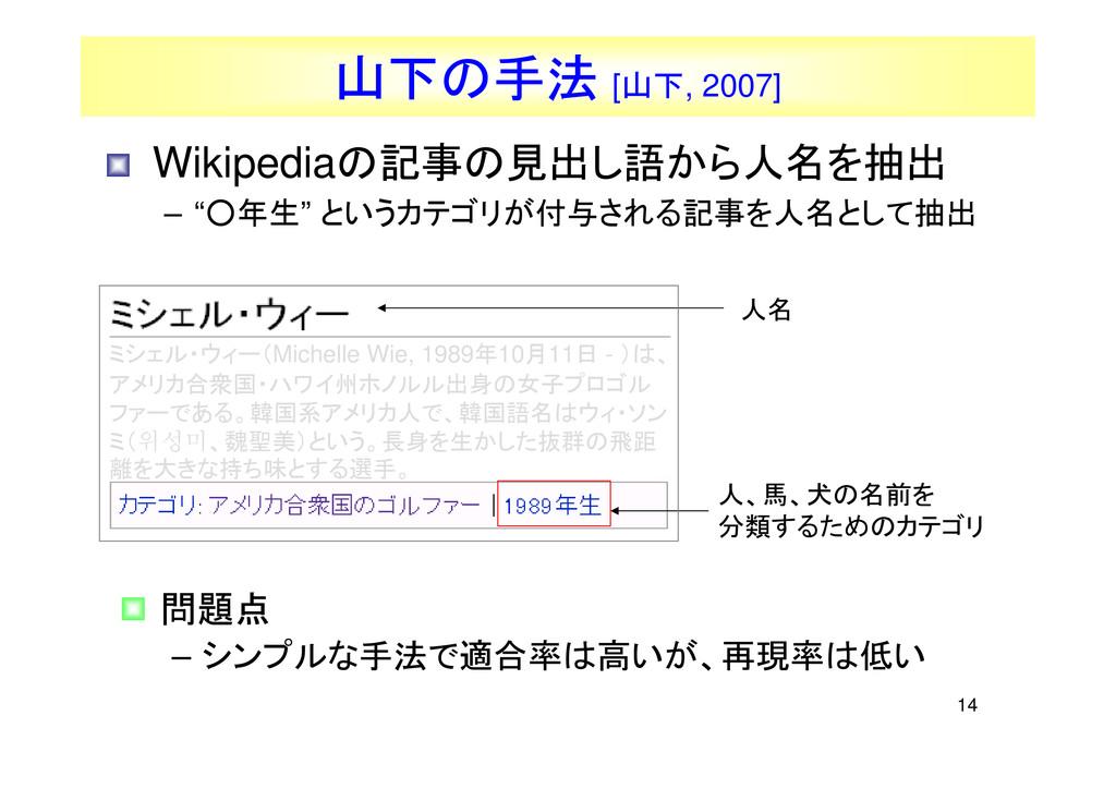 14 人、馬、犬の名前を 分類するためのカテゴリ • Wikipediaの記事の見出し語から人...