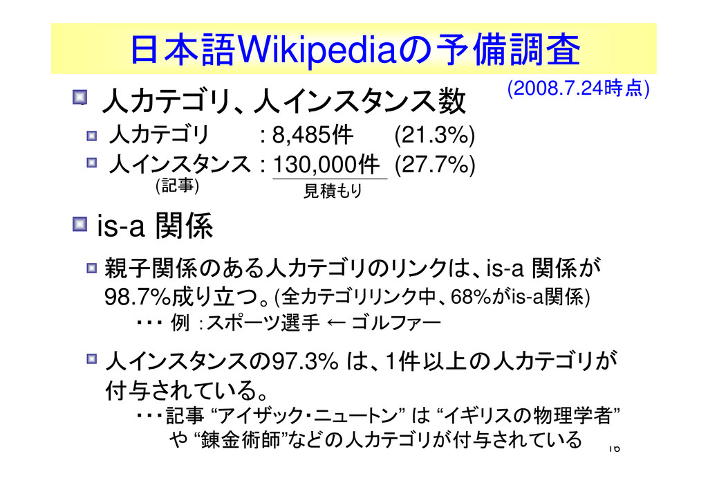 16 日本語Wikipediaの予備調査 見積もり • 人カテゴリ、人インスタンス数 人カテゴ...