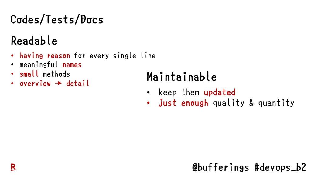 @bufferings #devops_b2 Codes/Tests/Docs Readabl...
