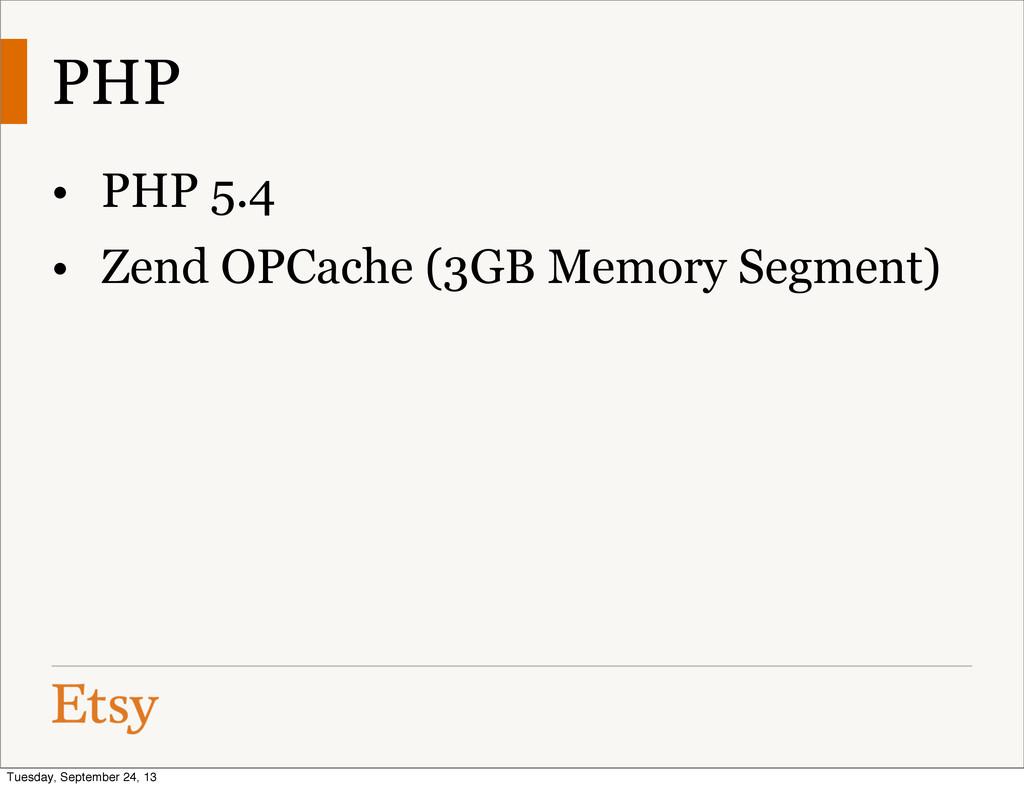 PHP • PHP 5.4 • Zend OPCache (3GB Memory Segmen...
