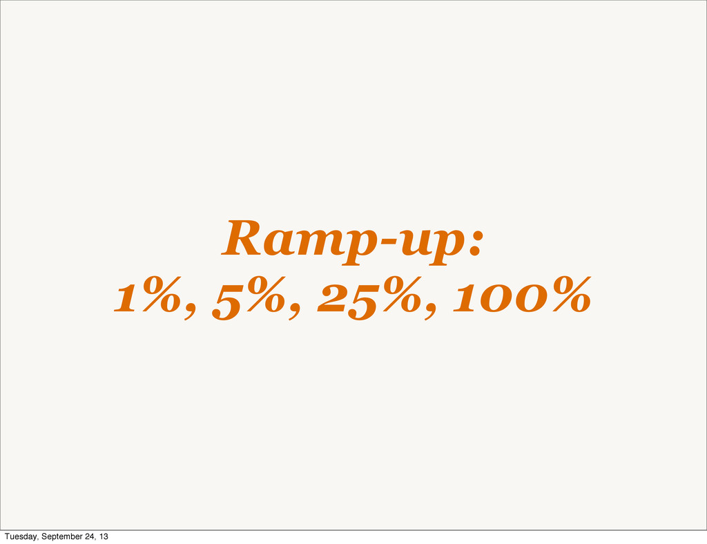 Ramp-up: 1%, 5%, 25%, 100% Tuesday, September 2...