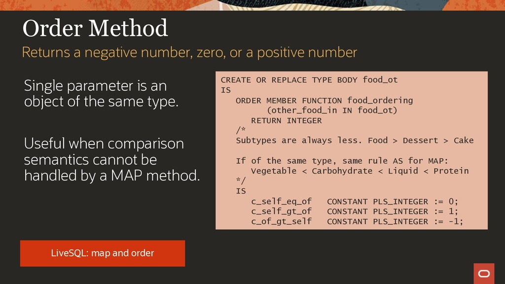 Order Method Single parameter is an object of t...