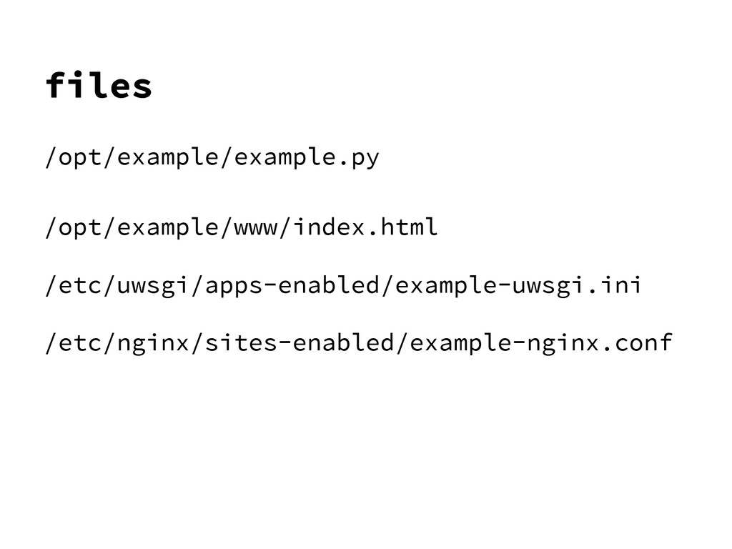 files /opt/example/example.py /opt/example/www/...