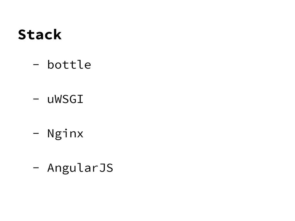 Stack - bottle - uWSGI - Nginx - AngularJS