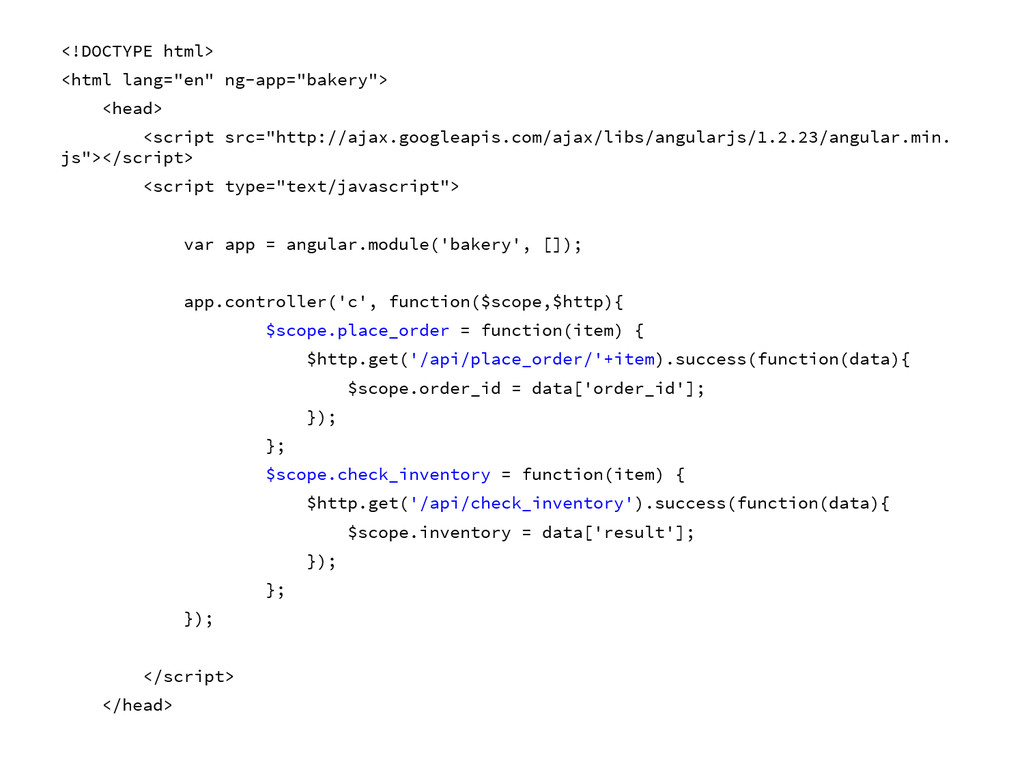 """<!DOCTYPE html> <html lang=""""en"""" ng-app=""""bakery""""..."""