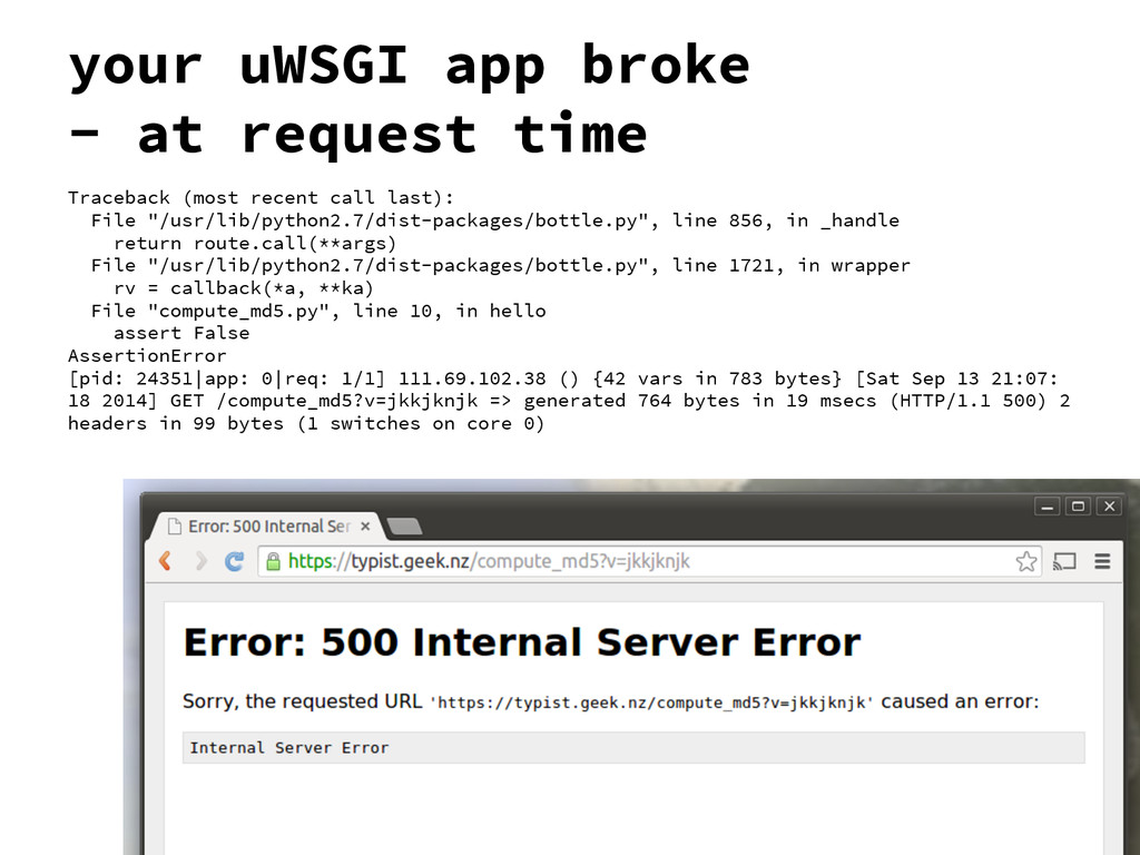your uWSGI app broke - at request time Tracebac...