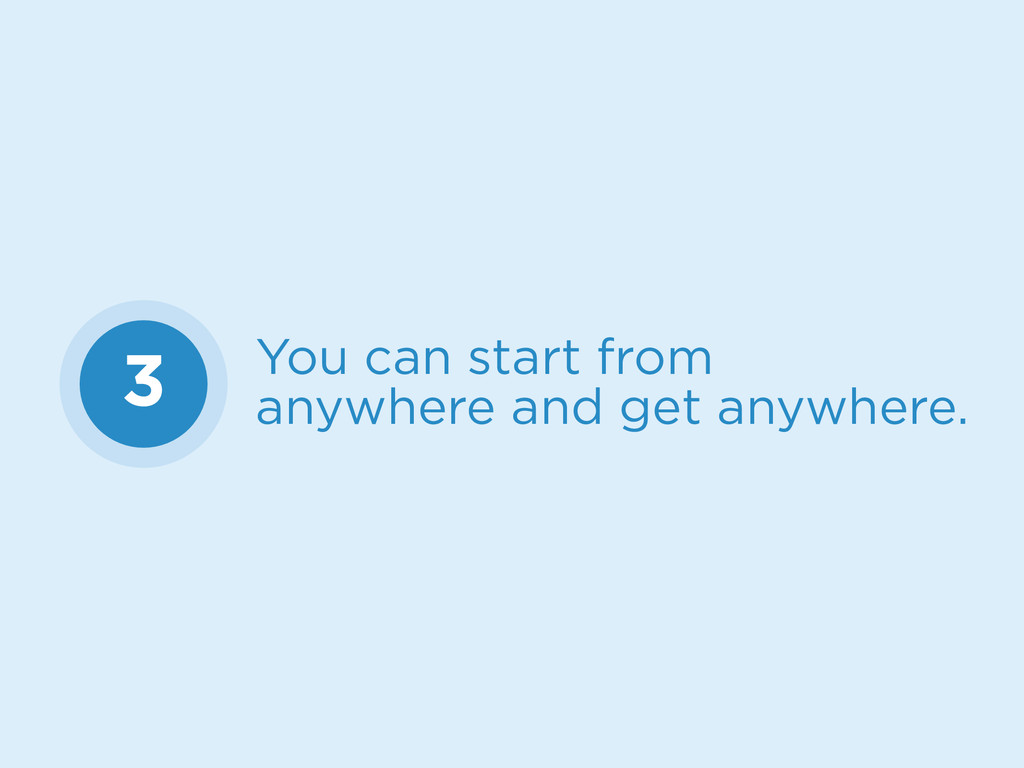 3 You can start from anywhere and get anywhere.